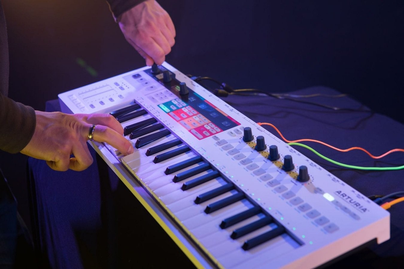 An action shot of the Arturia KeyStep Pro