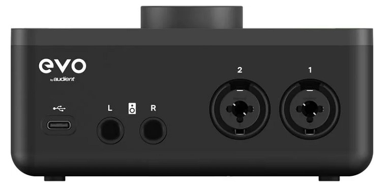 The back panel of the Audient EVO 4 audio recording interface