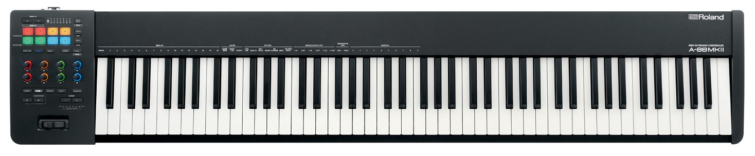 One of our favorite fully-weighted MIDI keyboard controllers by Roland, the A-88 MKII