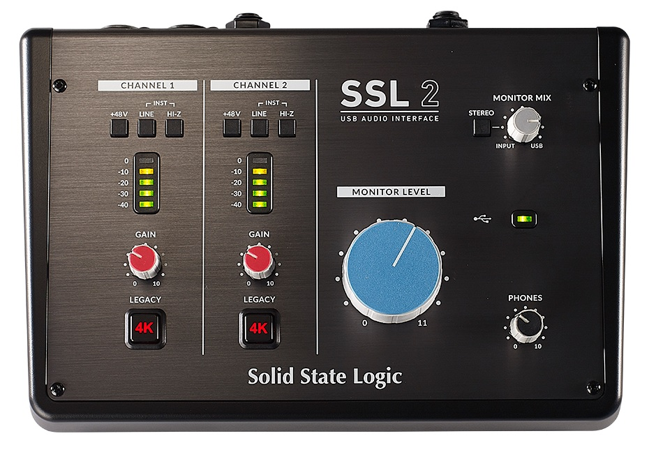 The front panel of the SSL2 by Solid State Logic
